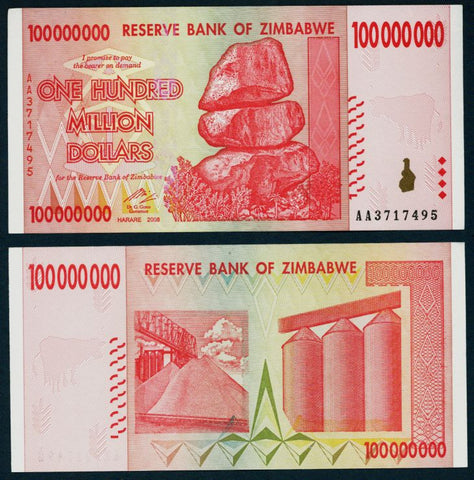 100 Million Zimbabwe Dollars Bank Note