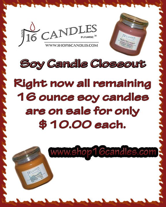 16 Ounce Jar Candle Closeout Sale.