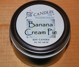 Banana Cream Pie ~ Small Tin Soy Candle - 16 Candles by J.P. Lawrence