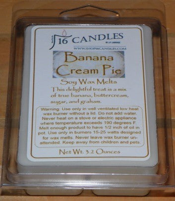 Banana Cream Pie ~ Soy Wax Melts - 16 Candles by J.P. Lawrence