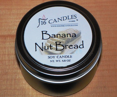 Banana Nut Bread ~ Small Tin Soy Candle ~ Shop16Candles