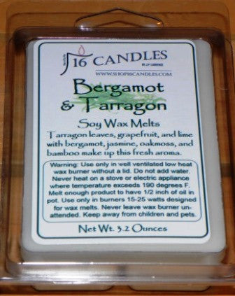 Bergamot & Tarragon ~ Soy Wax Melts - 16 Candles by J.P. Lawrence