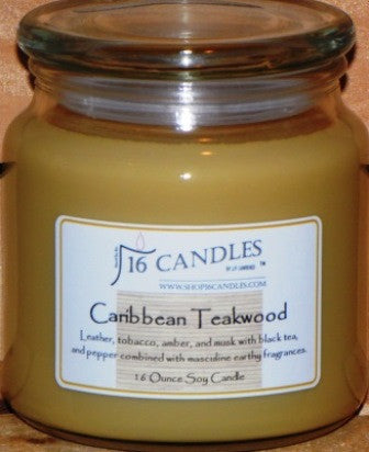 Caribbean Teakwood ~ 16 Oz Soy Candle - Shop16Candles