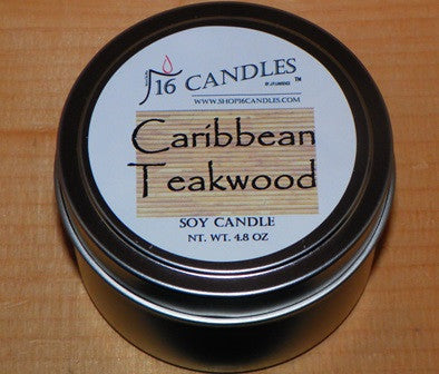 Caribbean Teakwood ~ Small Tin Soy Candle ~ Shop16Candles