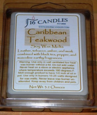 Caribbean Teakwood ~ Soy Wax Melts - 16 Candles by J.P. Lawrence