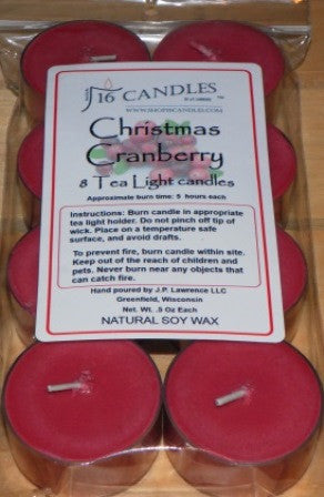 Christmas Cranberry ~ 8 Soy Tea Lights