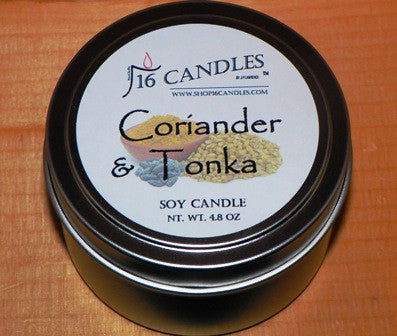 Coriander & Tonka ~ Small Tin Soy Candle ~ Shop16Candles
