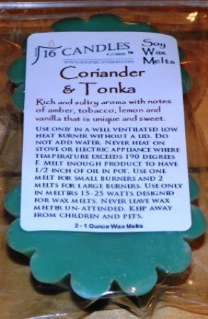 Coriander & Tonka ~ Scented Wax Melts - 16 Candles by J.P. Lawrence