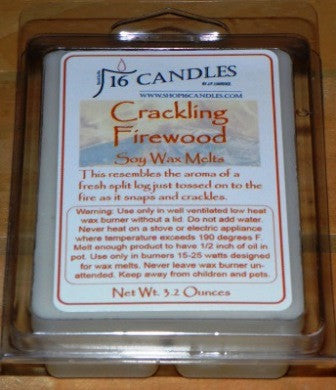 Crackling Firewood ~ Soy Wax Melts - 16 Candles by J.P. Lawrence