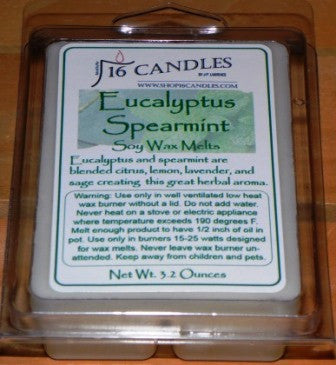 Eucalyptus Spearmint ~ Soy Wax Melts - 16 Candles by J.P. Lawrence