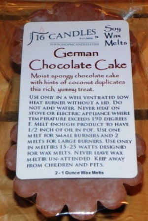 German Chocolate Cake ~ Scented Wax Melts - 16 Candles by J.P. Lawrence