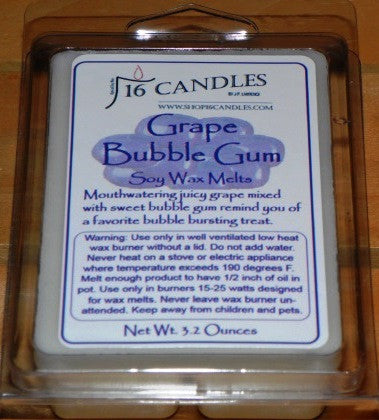 Grape Bubble Gum ~ Soy Wax Melts - 16 Candles by J.P. Lawrence