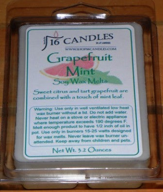 Grapefruit Mint ~ Soy Wax Melts - 16 Candles by J.P. Lawrence