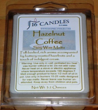Hazelnut Coffee ~ Soy Wax Melts - 16 Candles by J.P. Lawrence