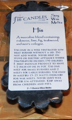 His ~ Scented Wax Melts - 16 Candles by J.P. Lawrence