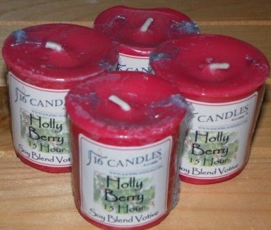Holly Berry Votive ~ Single or 4 Pack