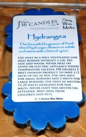 Hydrangea ~ Scented Wax Melts - 16 Candles by J.P. Lawrence