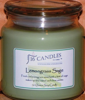 Lemongrass Sage ~ 16 Oz Soy Candle - Shop16Candles