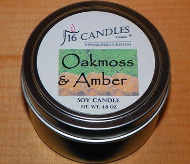Oakmoss & Amber ~ Small Tin Soy Candle