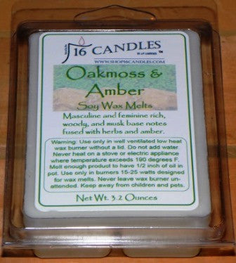 Oakmoss & Amber ~ Soy Wax Melts - 16 Candles by J.P. Lawrence