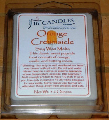 Orange Creamsicle ~ Soy Wax Melts - 16 Candles by J.P. Lawrence