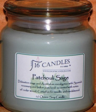 Patchouli Sage ~ 16 Oz Soy Candle - Shop16Candles