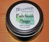 Patchouli Sage ~ Small Tin Soy Candle