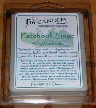 Patchouli Sage ~ Soy Wax Melts - 16 Candles by J.P. Lawrence