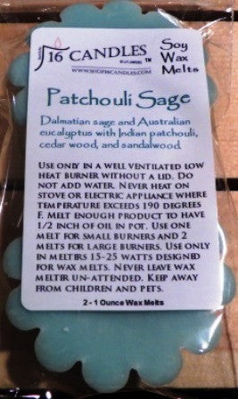 Patchouli Sage ~ Scented Wax Melts - 16 Candles by J.P. Lawrence
