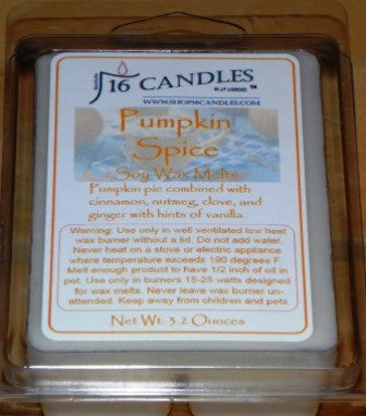 Pumpkin Spice ~ Soy Wax Melts - 16 Candles by J.P. Lawrence