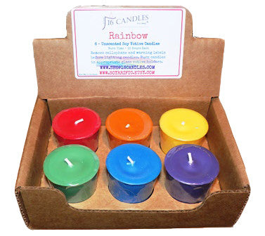 Rainbow Soy Votive Candles ~ 6 Pack Unscented