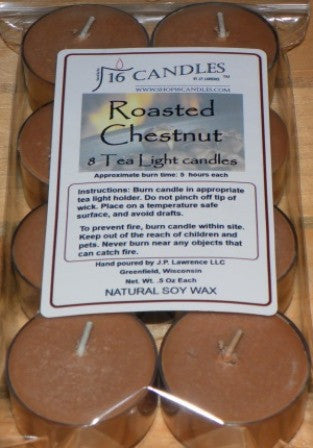 Roasted Chestnut ~ 8 Soy Tea Lights