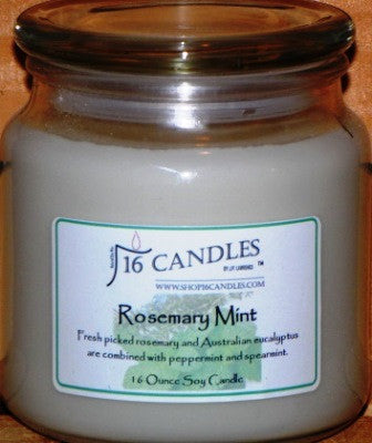 Rosemary Mint ~ 16 Oz Soy Candle - Shop16Candles