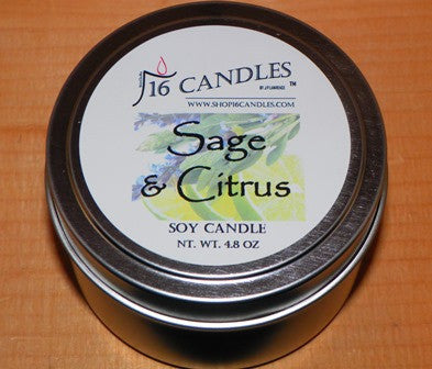 Sage & Citrus ~ Small Tin Soy Candle