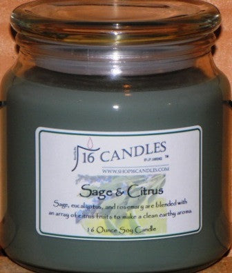 Sage & Citrus ~ 16 Oz Soy Candle - Shop16Candles