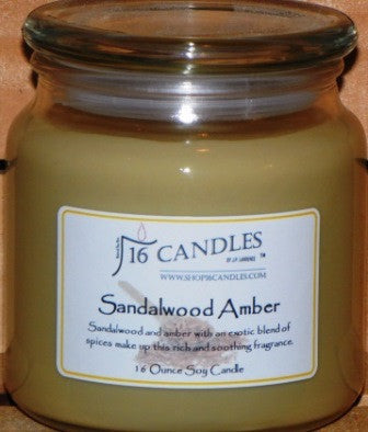 Sandalwood Amber ~ 16 Oz Soy Candle - Shop16Candles
