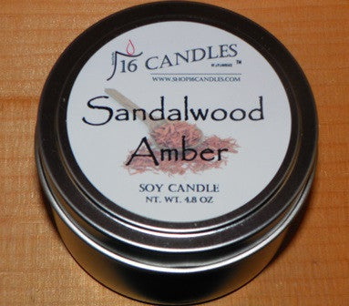 Sandalwood Amber ~ Small Tin Soy Candle