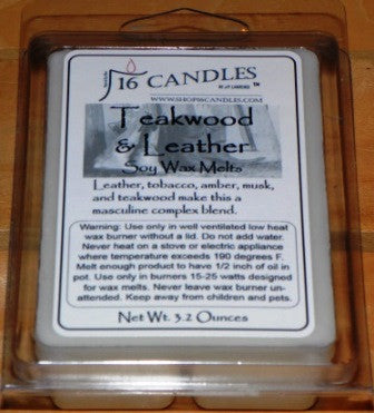 Teakwood & Leather ~ Soy Wax Melts - 16 Candles by J.P. Lawrence