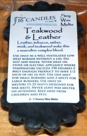Teakwood & Leather ~ Scented Wax Melts - 16 Candles by J.P. Lawrence