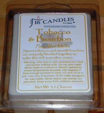 Tobacco & Bourbon ~ Soy Wax Melts - 16 Candles by J.P. Lawrence