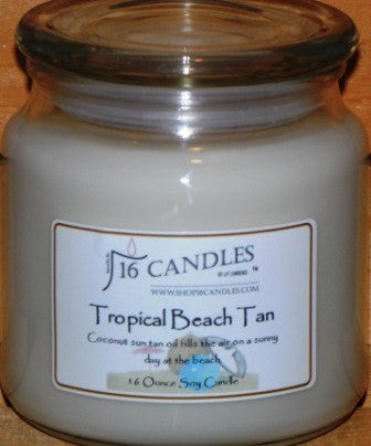 Tropical Beach Tan ~ 16 Oz Soy Candle - Shop16Candles