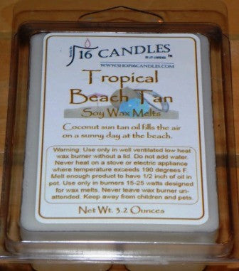 Tropical Beach Tan ~ Soy Wax Melts - 16 Candles by J.P. Lawrence
