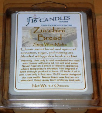 Zucchini Bread ~ Soy Wax Melts - 16 Candles by J.P. Lawrence