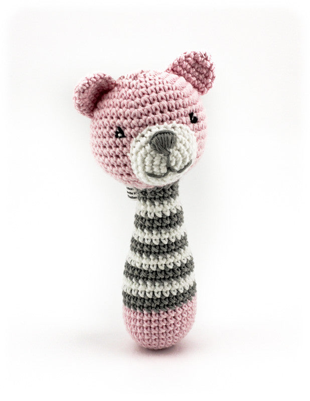 Alex Bear Rattle Pink and Grey - Standing
