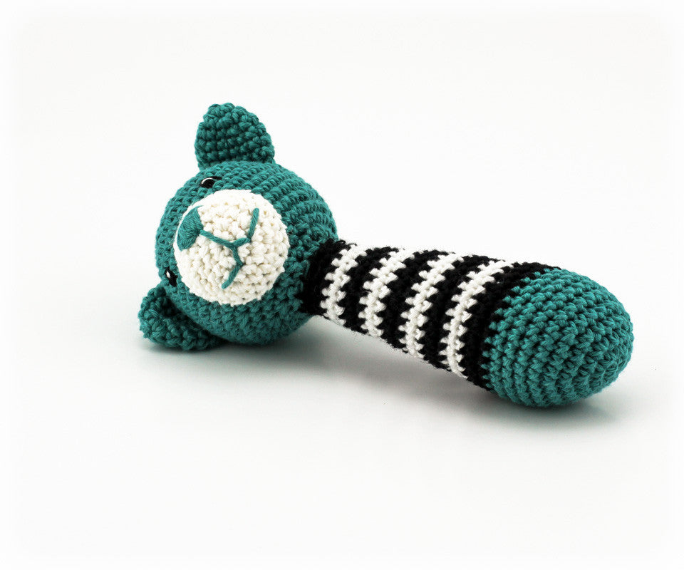 Alex Bear Rattle Teal and Black - Side