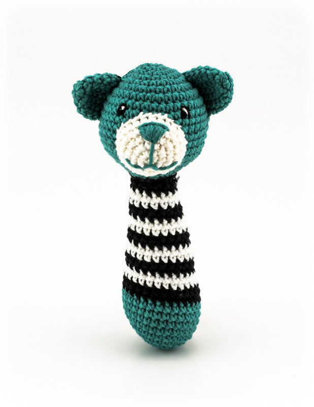 Alex Bear Rattle Teal and Black - Standing