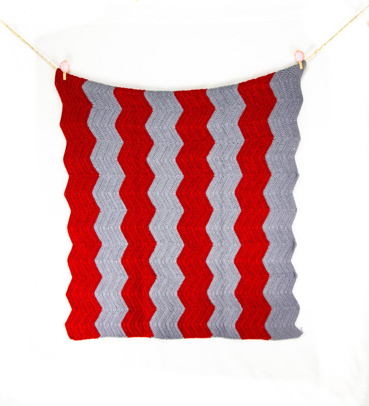 Chevron Blanket Red and Grey - Hanging2