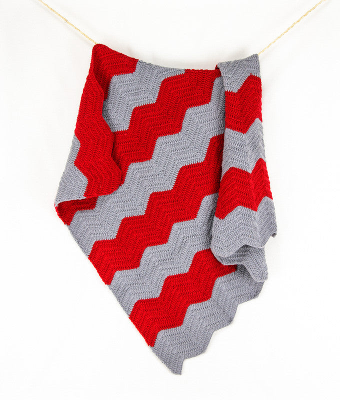 Chevron Blanket Red and Grey - Hanging1