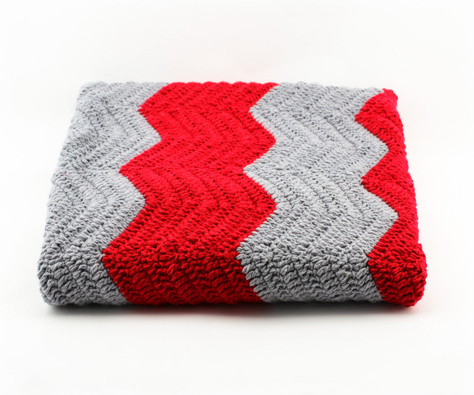 Chevron Blanket Red and Grey - Closeup