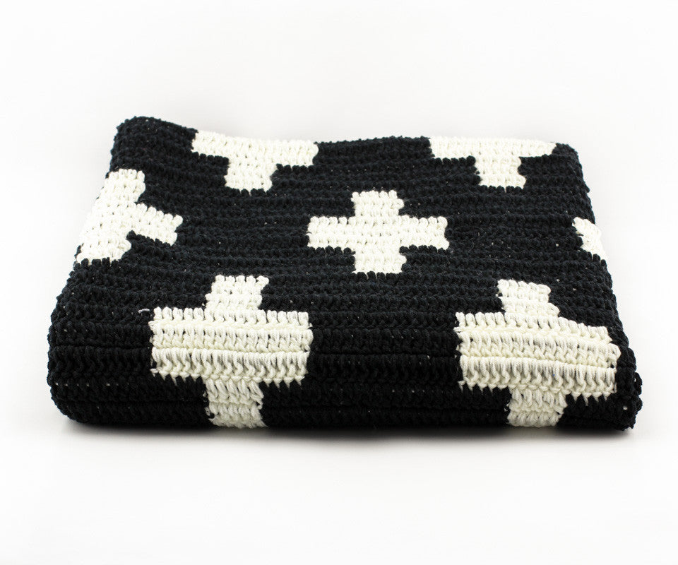 Cross Blanket Black and White - Close Up
